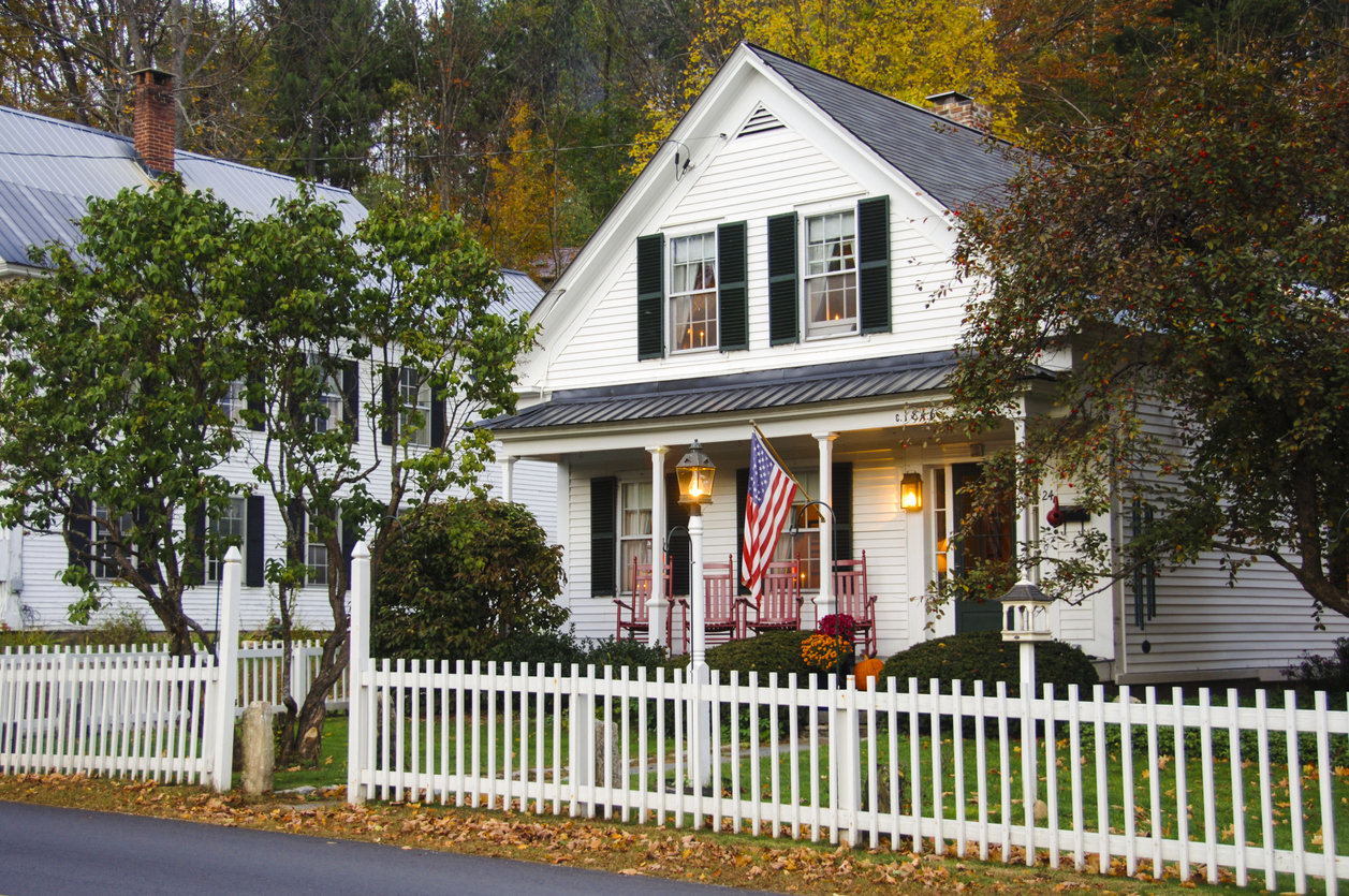 Americana house with American flag outside