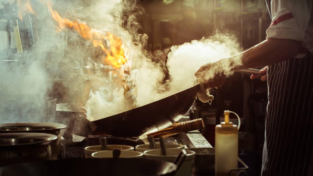 Hot kitchen pan steaming