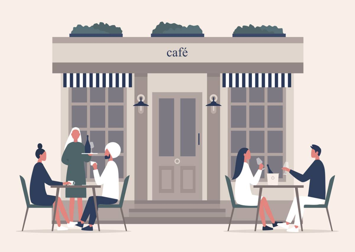 Illustration of furniture that is European in front of cafe.