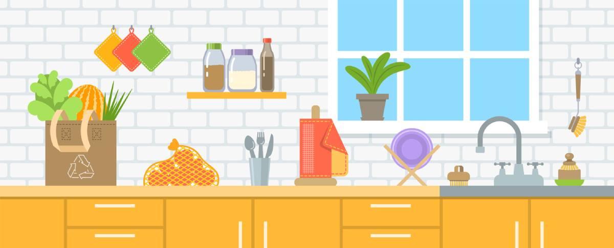 Modern sustainable kitchen illustration.